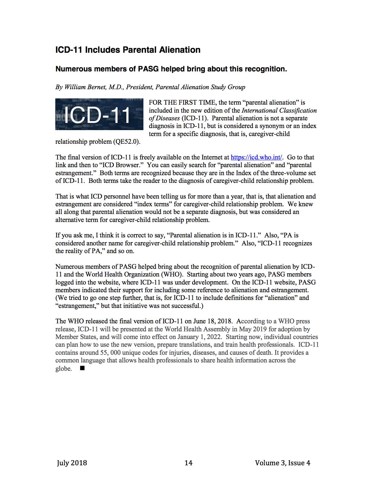 Nel nuovo ICD-11 si parla di Alienazione Parentale